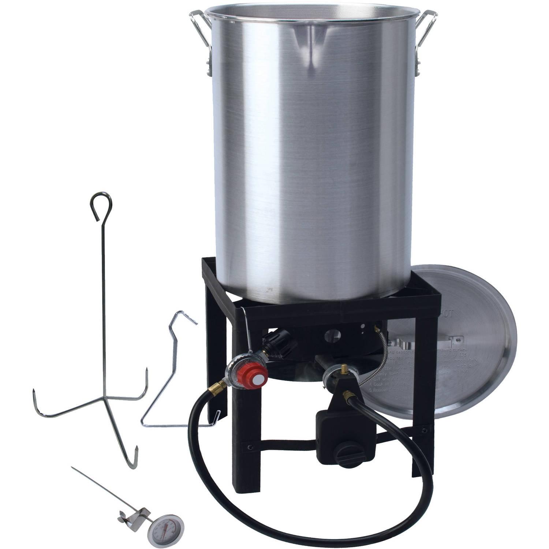 Durable 38 000 BTU Burner Deluxe 30 Qt Stainless Steel Turkey Fryer Timer System