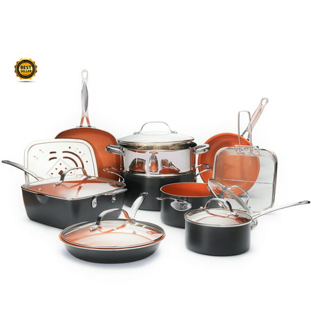 Gotham Steel 15 piece Pan Set, Nonstick Copper Cookware Set