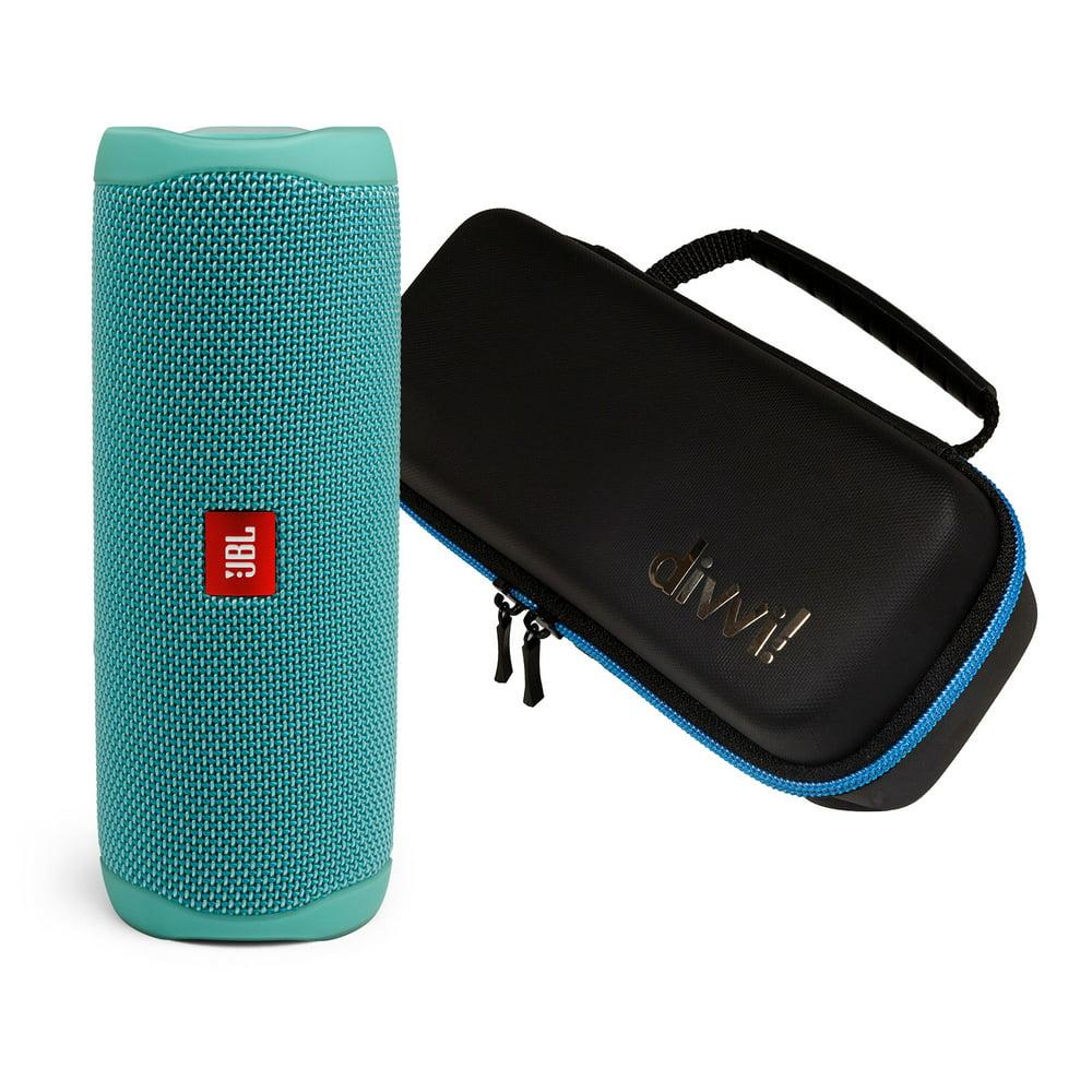 JBL Flip 5 Teal Portable Bluetooth Speaker w/divvi! Hardshell Case