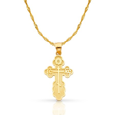 Gold Orthodox Cross - 14K Yellow Gold St. Olga Greek Orthodox Baptismal Cross Pendant with 1.2mm Singapore Chain Chain Necklace
