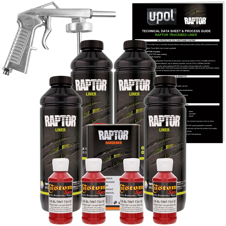 Raptor Hot Rod Red Urethane Spray-On Truck Bed Liner Spray Gun, 4 Liters