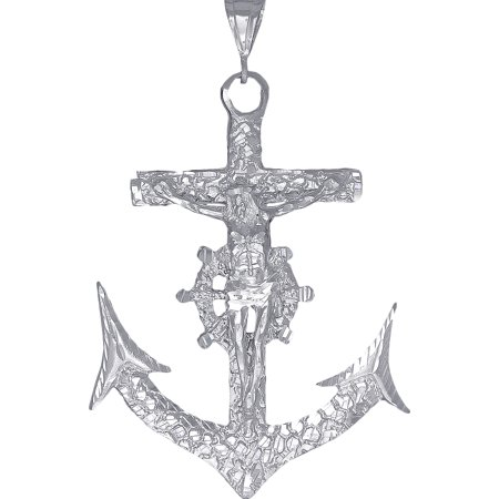 Huge Heavy Sterling Silver Nugget Style Anchor Cross with Jesus Pendant Necklace 3.8 Inches 35 Grams with Diamond Cut Finish and 24 Inch Figaro Chain