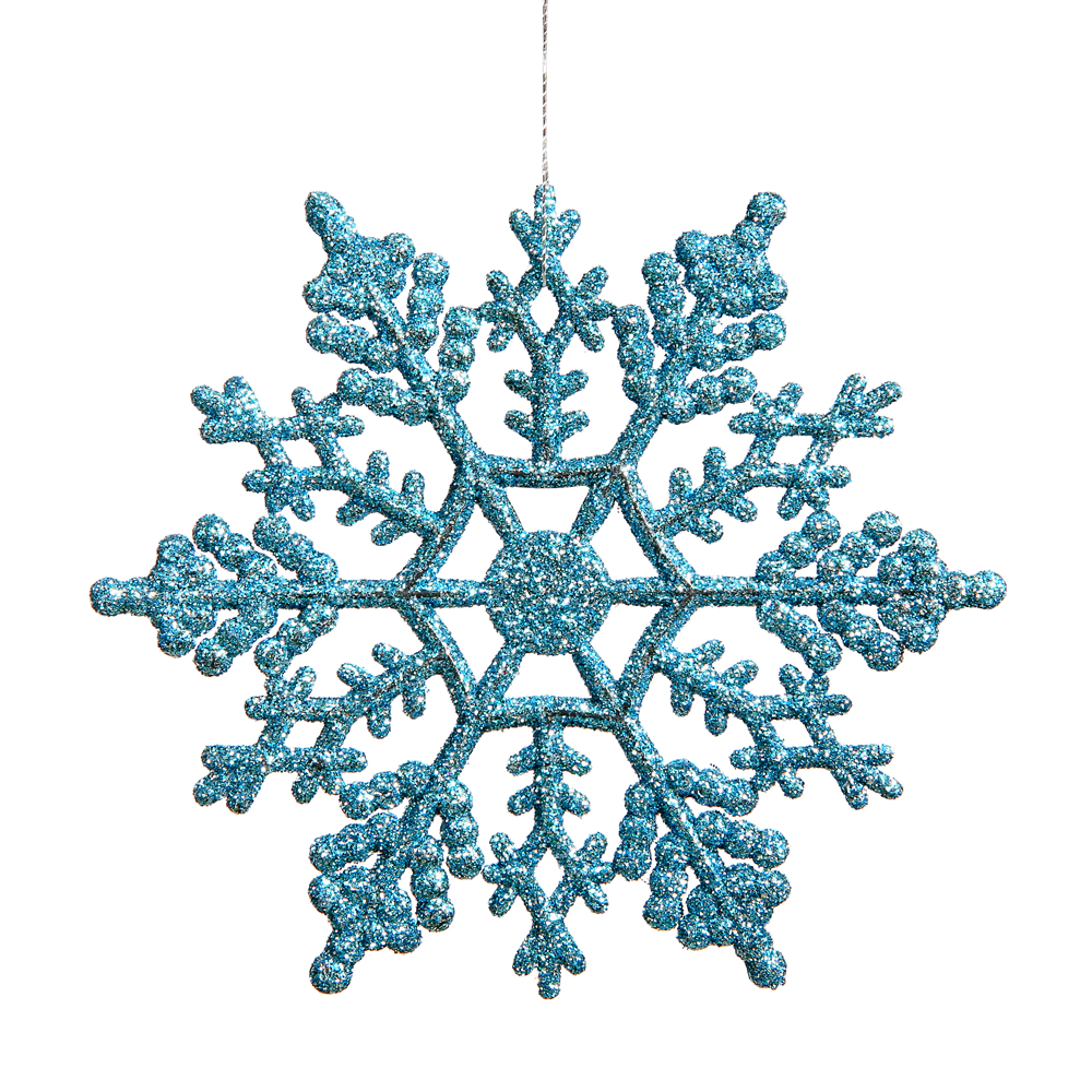 Club Pack of 12 Turquoise Blue Glitter Snowflake Christmas Ornaments 6.25""