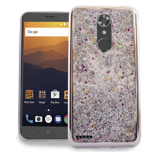 MUNDAZE Silver Motion Glitter Chrome Case For ZTE Blade X Max / Max Blue Phone