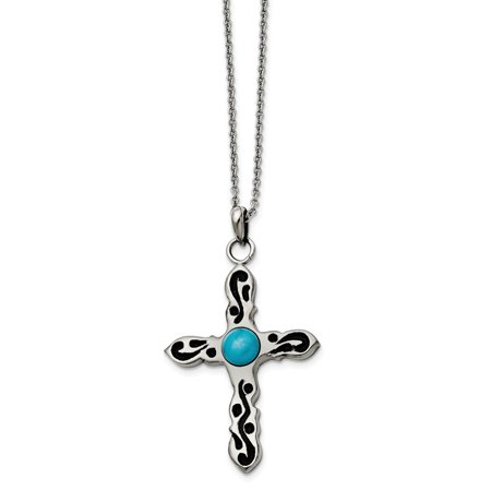Mia Diamonds Stainless Steel Polished Imitation Turquoise Antiqued Cross Necklace Chain