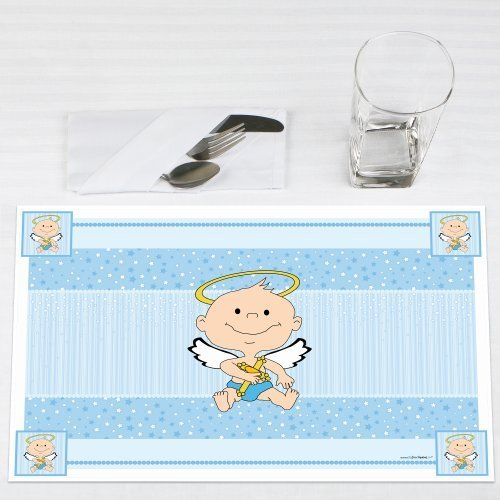 Angel Baby Boy Baptism Party Placemats Set of 12 by Big Dot of Happiness, LLC