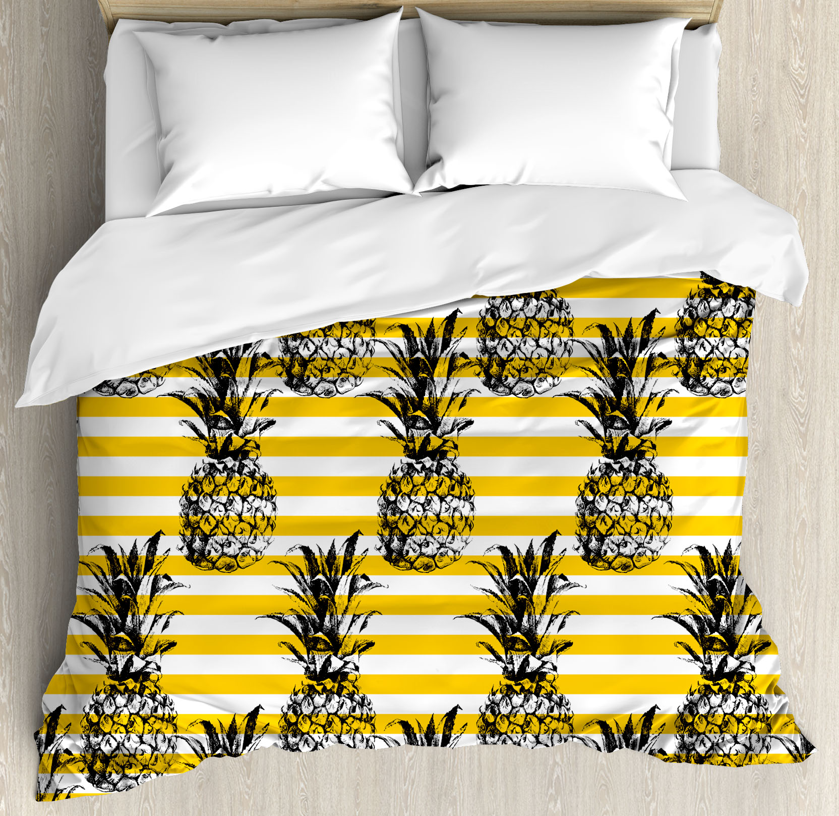 Grunge Duvet Cover Set, Retro Striped Background with Pineapple Figures Vintage Hippie Graphic, Decorative Bedding Set with Pillow Shams, Black and Earth Yellow, by Ambesonne