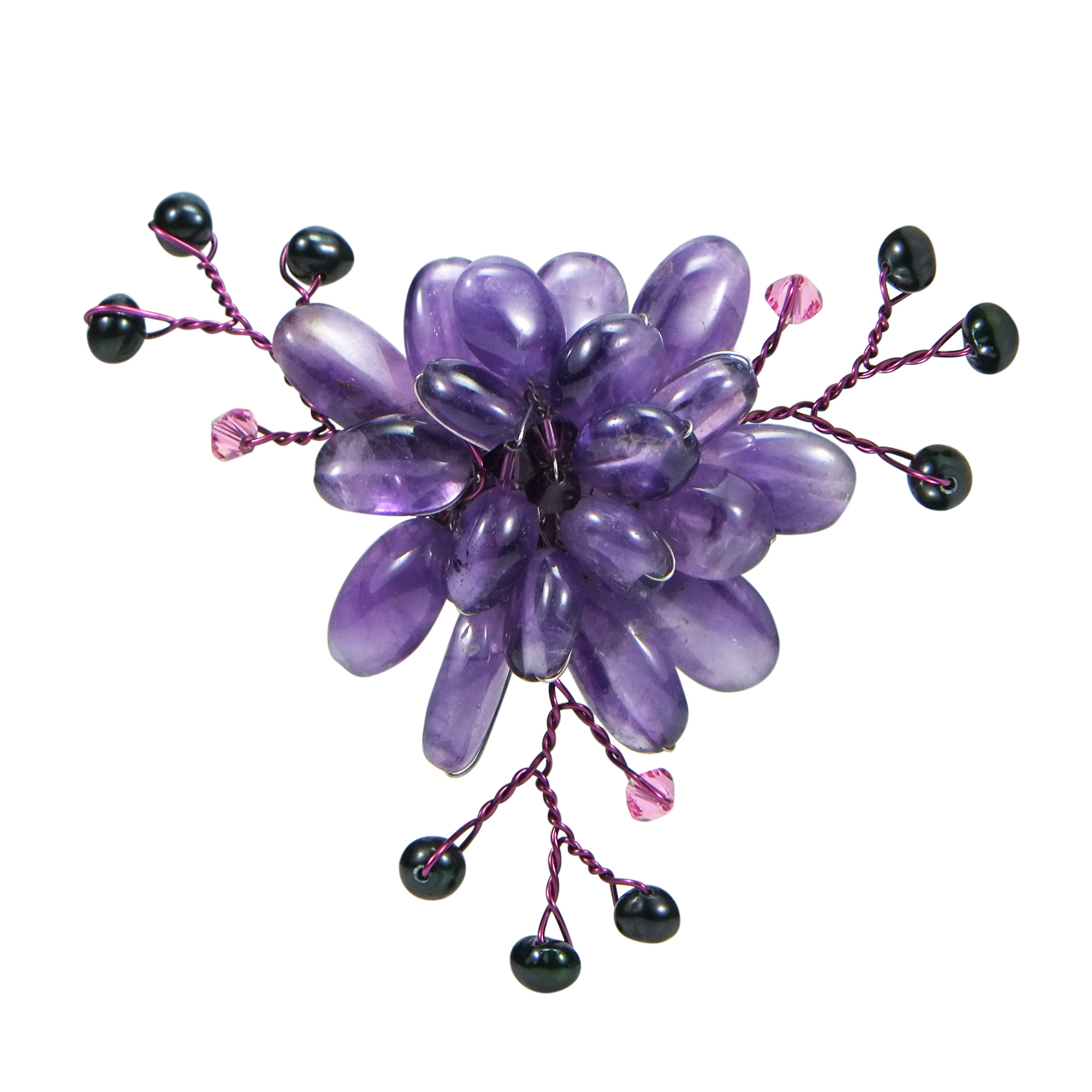 Purple Charming Lotus Flower Simulated Amethyst-Cultured Freshwater Pearl-Crystal Pin-Brooch by