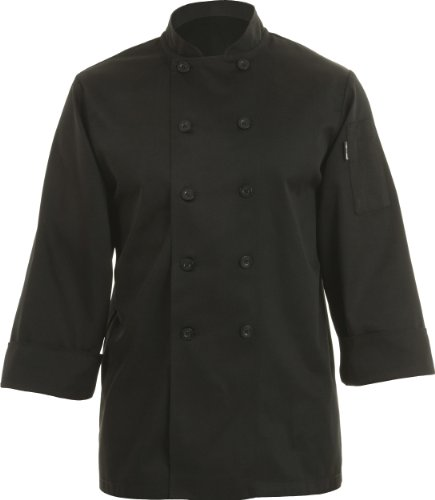 Chef Works Inc Unisex 65 35 Poly Cotton Basic Chef Coat Black, X-Large | 1 Each by Chef Works Inc