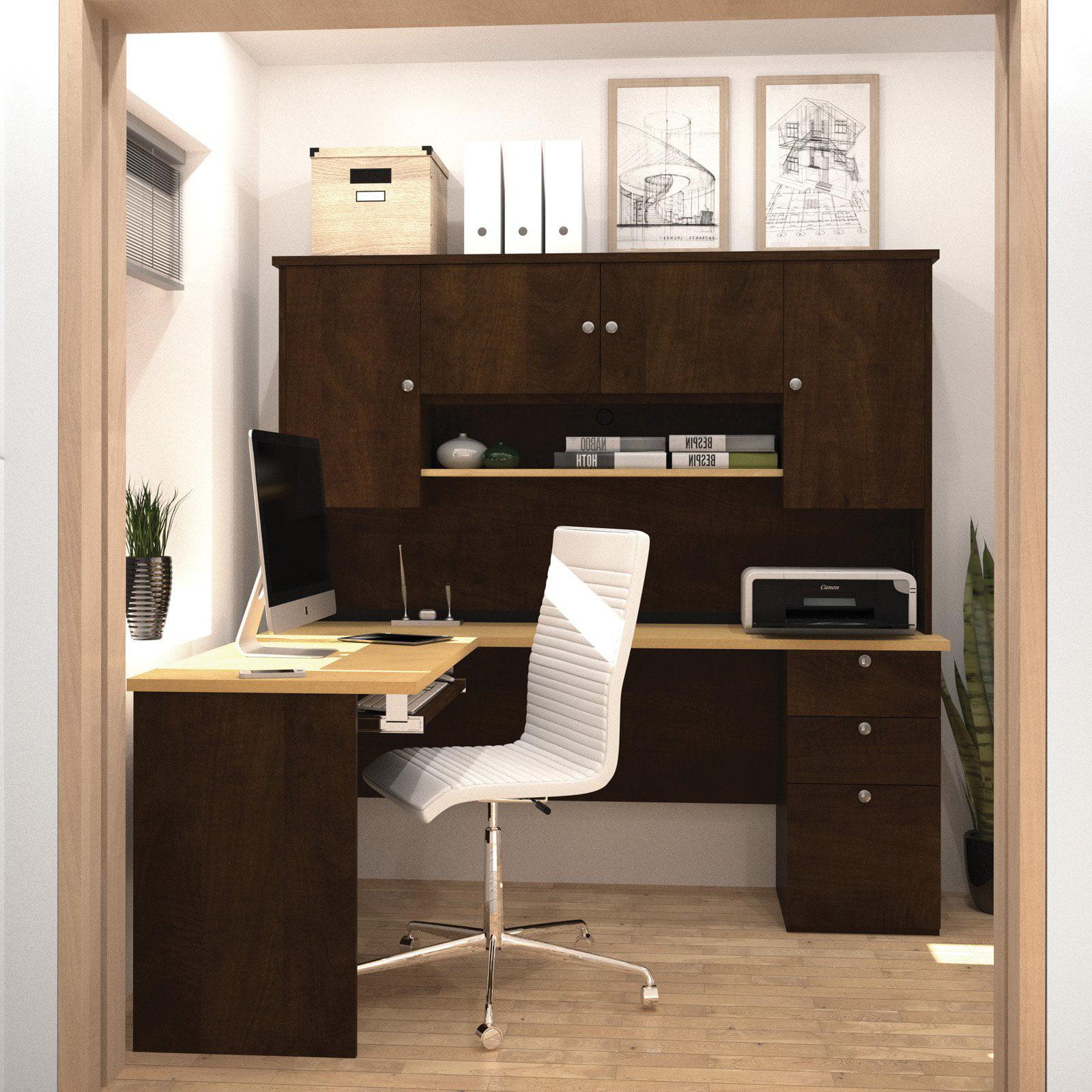 Bestar Manhattan L-Shaped Workstation in Secret Maple and Chocolate