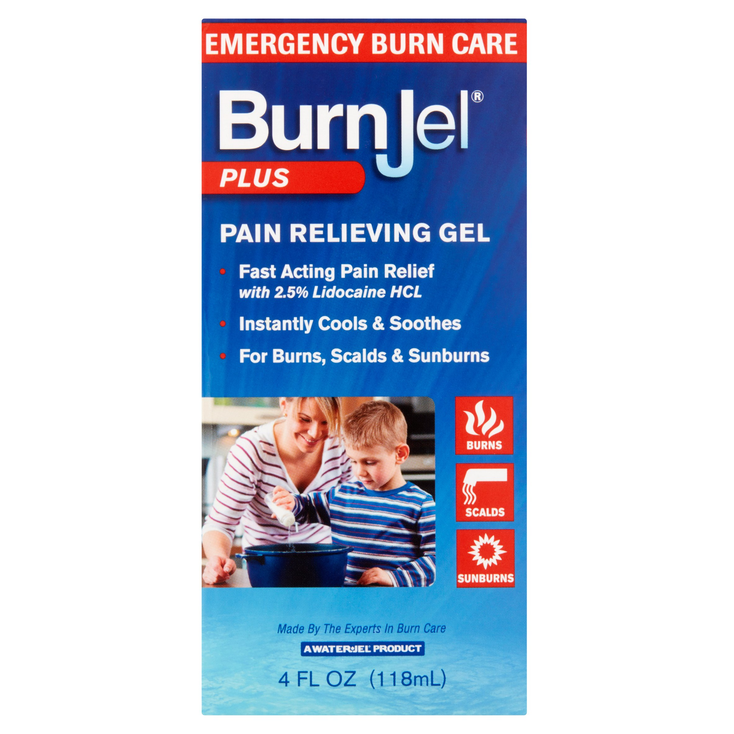 Water-Jel BurnJel Plus Pain Relieving Gel, 4 fl oz