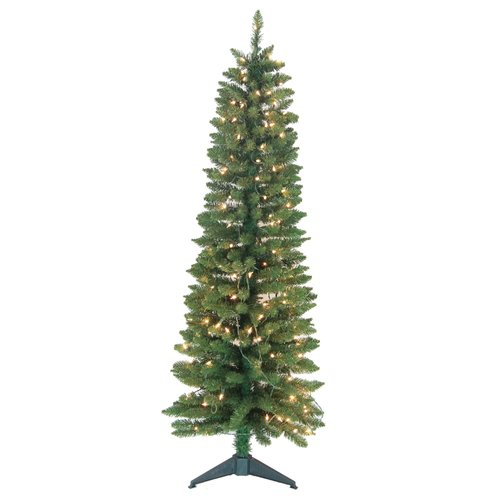 Jolly Workshop Pencil Pre-Lit 5' Green Artificial Christmas Tree with 150 Clear Lights