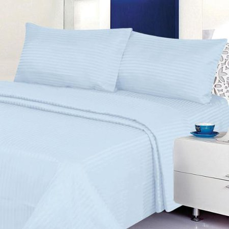 Cotton Sateen 4-piece 300 TC Dobby Stripe Sheet Set Twin Light Blue Blue Twin Sheet Set