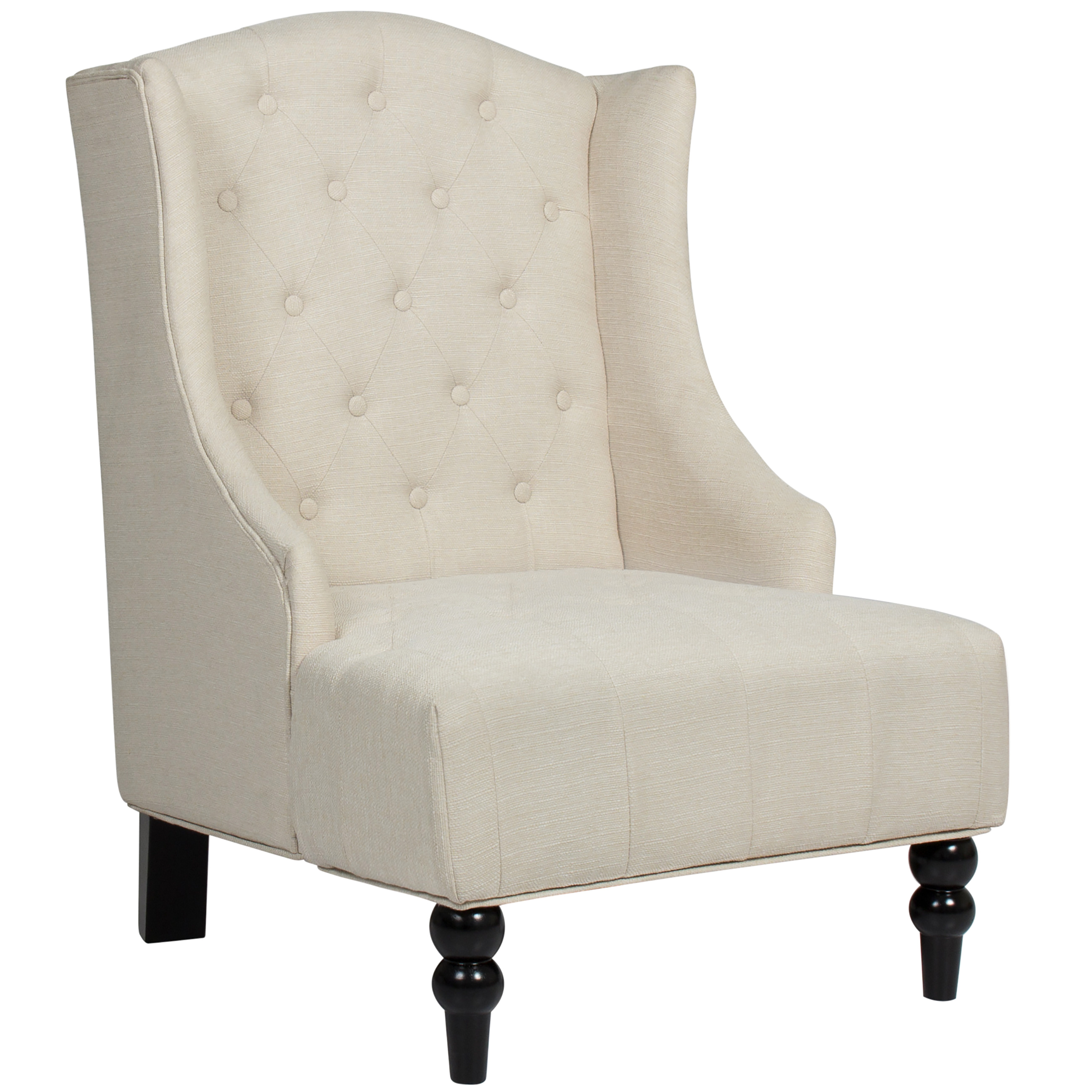 Best Choice Products Tall Wingback Tufted Fabric Accent Chair Beige by
