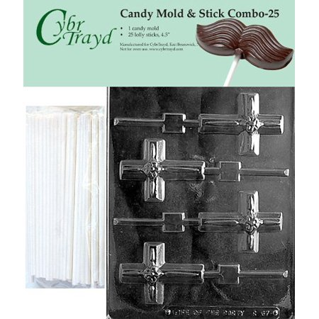 Cybrtrayd Small Cross Lolly with Flower Chocolate Candy Mold with 25 4.5-Inch Lollipop Sticks and Exclusive Cybrtrayd Copyrighted Chocolate Molding Instructions (Flower Lollipops)