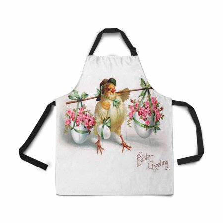 ASHLEIGH Vintage Easter Chicken with Easter Egg Apron for Women Men Girls Chef with Pockets Easter Greeting Unisex Adjustable Bib Apron Kitchen for Cooking Baking (Egg Pocket)