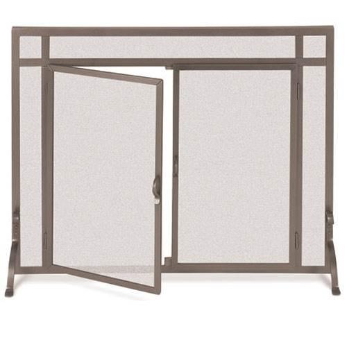 Flat Bronze Finish Fireplace Screen w Doors (39 in. Width)