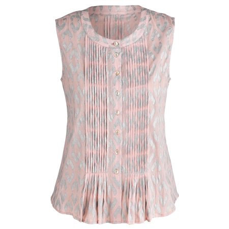 0877e07fe180b Catalog Classics - Women s Dusty Pink Ikat Printed Sleeveless Top ...