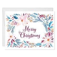 Pretty Christmas Cards 25 Pack w Envelopes Colorful Winter Floral Wreath Reach Out to Distant Family Close Friends Coworkers with Warm Holiday Wishes 25 Folded Blank Boxed Set by Digibuddha VH0038B