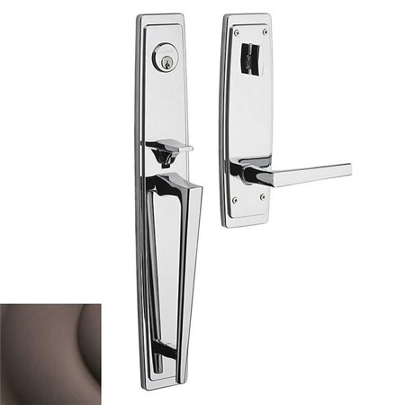 Baldwin Palm Springs Full Escutcheon Left Hand Single Cylinder Entry Tubular Handleset with L024 Lever 85397112LENT