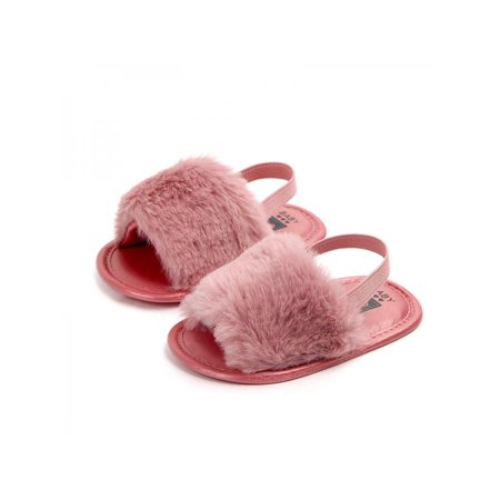 Ropalia Toddler Girl Kid Soft Sole Shoes Plush Slide Anti-slip Shoes