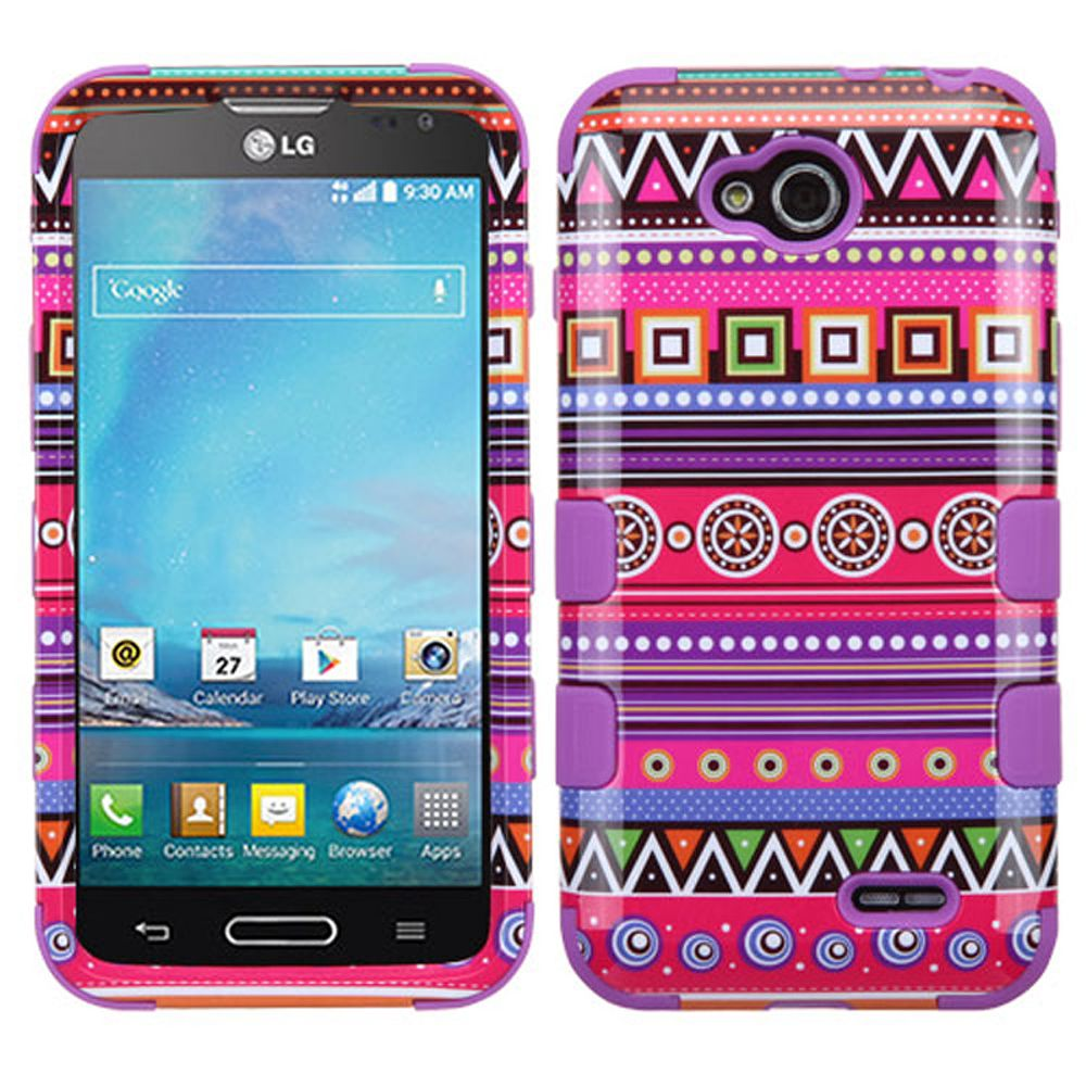 Insten Tuff Tribal Fashion Hard Dual Layer Silicone Cover Case For LG Optimus L90 - Hot Pink/Purple