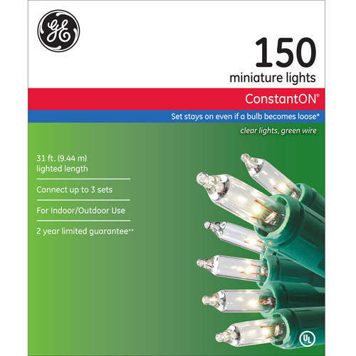 GE ConstantON Christmas Lights, Clear 150 Count