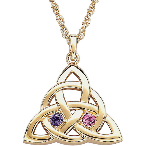 Personalized Couple's Birthstone 14kt Gold-Plated Celtic Knot Pendant, 20""