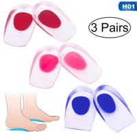 AkoaDa 3 Pairs Silicone Gel Heel Cups - Shoe Inserts for Plantar Fasciitis, Sore Heel Pain, Bone Spur and Achilles Pain - Pad and Shock