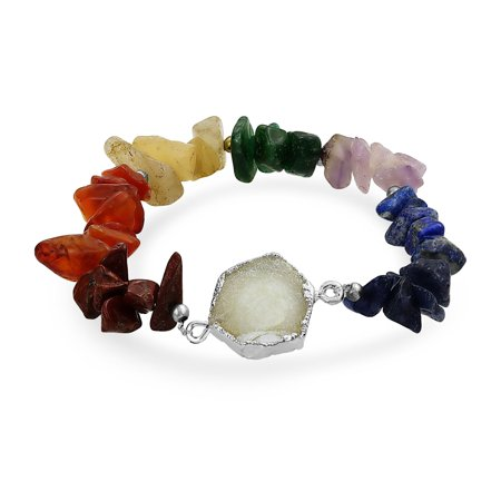 Gemstone Bracelet - Boho Organic Druzy Agate Multi Gemstone Chip Chakra Bracelet For Women Silver Tone Metal