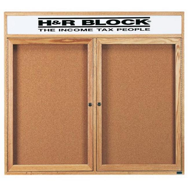 Aarco Products OBC4860RH 2-Door Enclosed Bulletin Board with Header - Oak