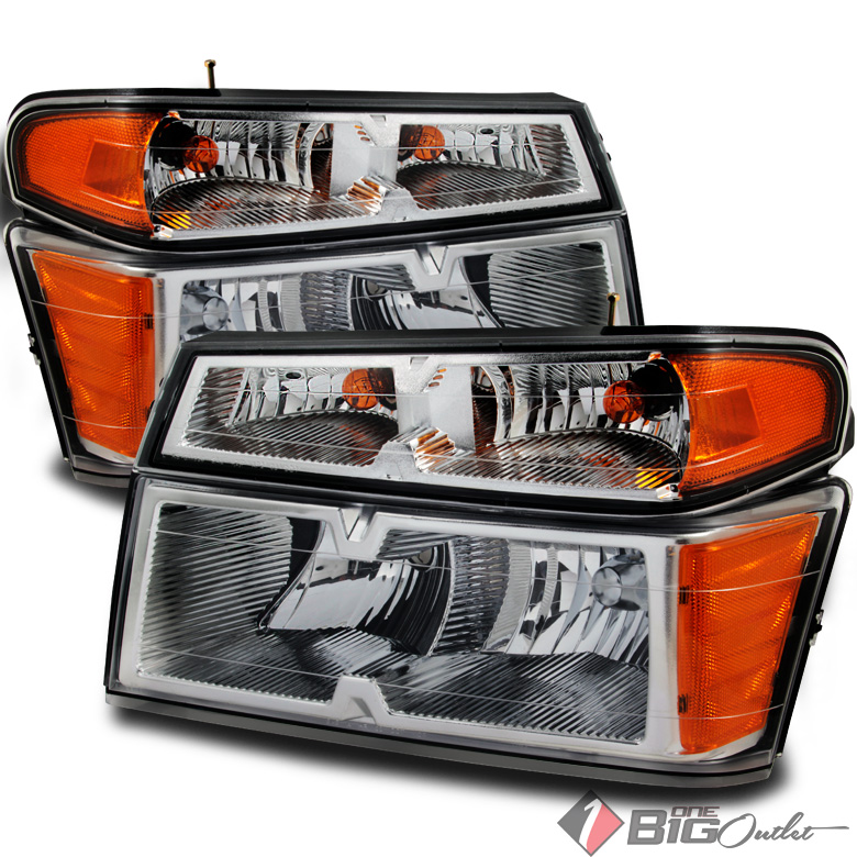 2004-2012 Colorado/Canyon Chrome Replacement Headlights Signal Lights Pair L+R 2005 2006 2007 2008 2009 2010 2011