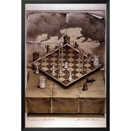 38in Framed - Illusion Chess Board Framed Poster 26 x 38in
