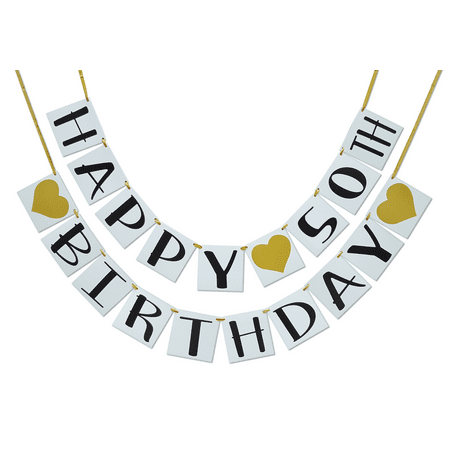 Happy 50th Birthday Banner, Gold Hearts and Ribbon, Birthday Decorations