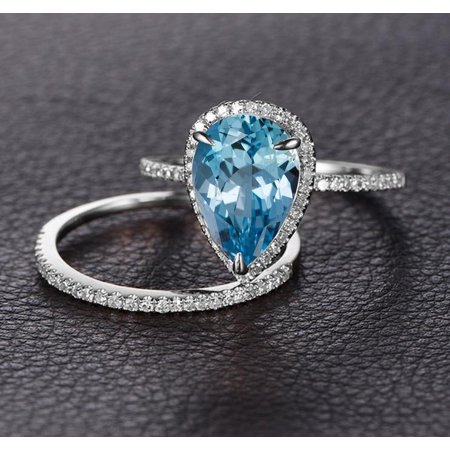 04dcca55cde09 Bestselling 2 Carat pear cut Aquamarine and Diamond Wedding Ring Set in  White Gold