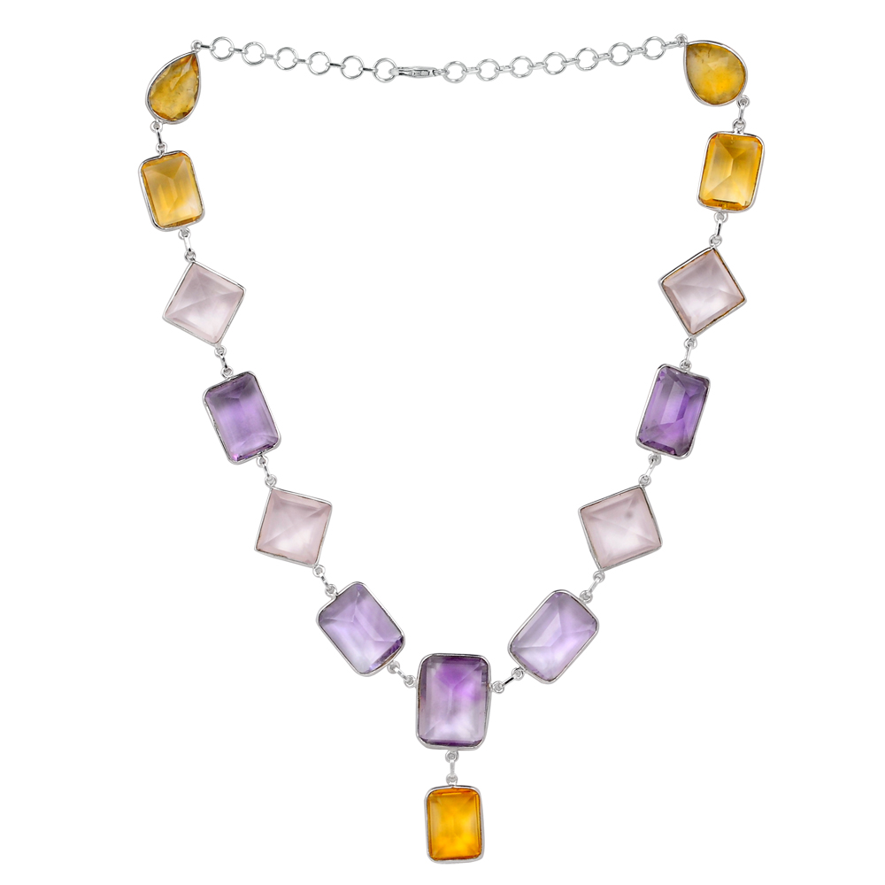 Orchid Jewelry 138 1 5 Carat Citrine, Amethyst and Rose Quartz Sterling Silver Handmade Necklace Jewelry by Orchid Jewelry Mfg Inc