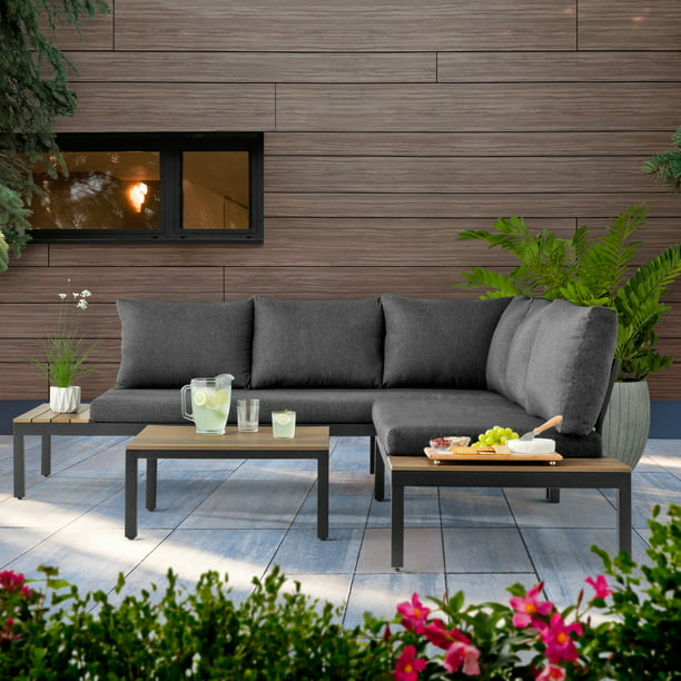 Better Homes & Gardens Bryde Sectional Sofa and Loveseat Low Seating Patio Set, 3 Pieces