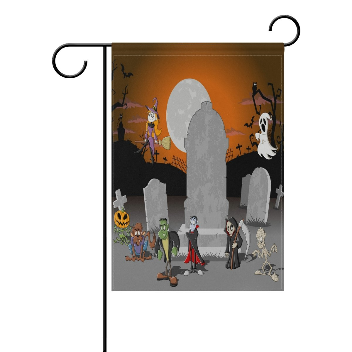 POPCreation Halloween Charaters Polyester Garden Flag Outdoor Flag Home Party Garden Decor 28x40 inches