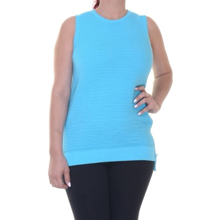 RALPH LAUREN Womens Blue Zippered Striped Sleeveless Crew Neck Top Size: L
