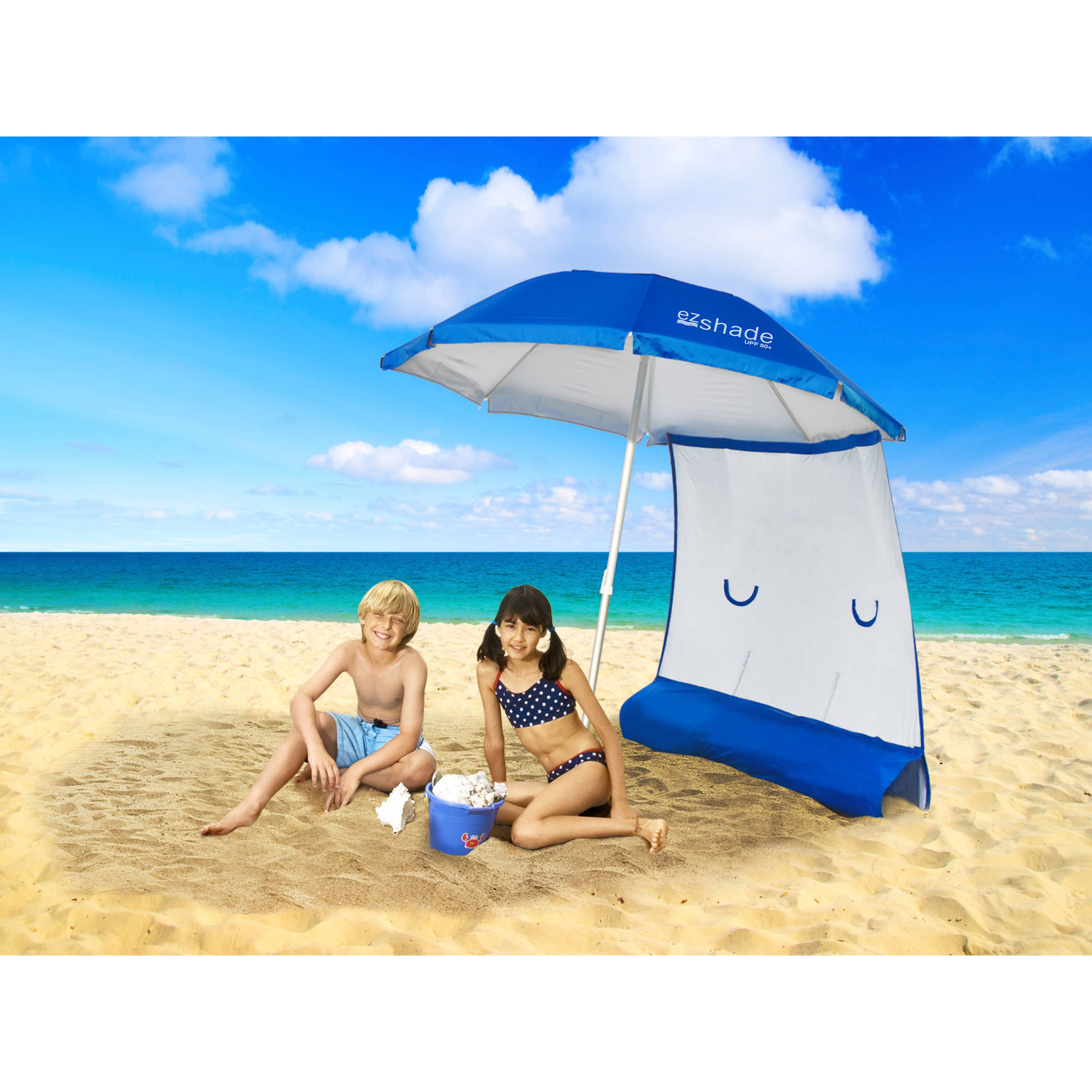 ezShade 7' Beach Umbrella and Sunshield Combo
