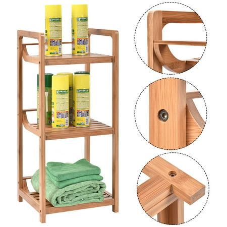 Costway 3-Tier Bathroom Shelf Bamboo Bath Storage Space Saver ...