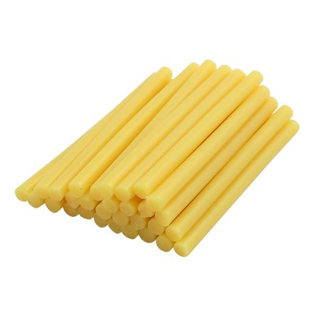 30 Pcs Yellow 7mm Dia Soldering Iron Hot Melt Glue Stick 100mm Length