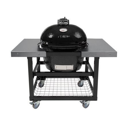Primo Oval LG 300 Ceramic Smoker Grill On Cart with 2 Piece SS Side Tables