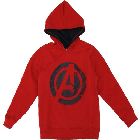 Marvel Little Boys Red Avengers Super Hero Print Hooded Long Sleeved Top - Marvel Boys