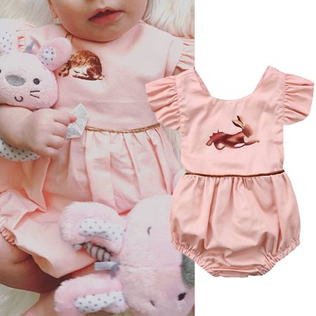 Pink Newborn Kids Baby Girl Easter Romper Jumpsuit Cotton Bodysuit Clothes Bunny Rabbit Print Outfit