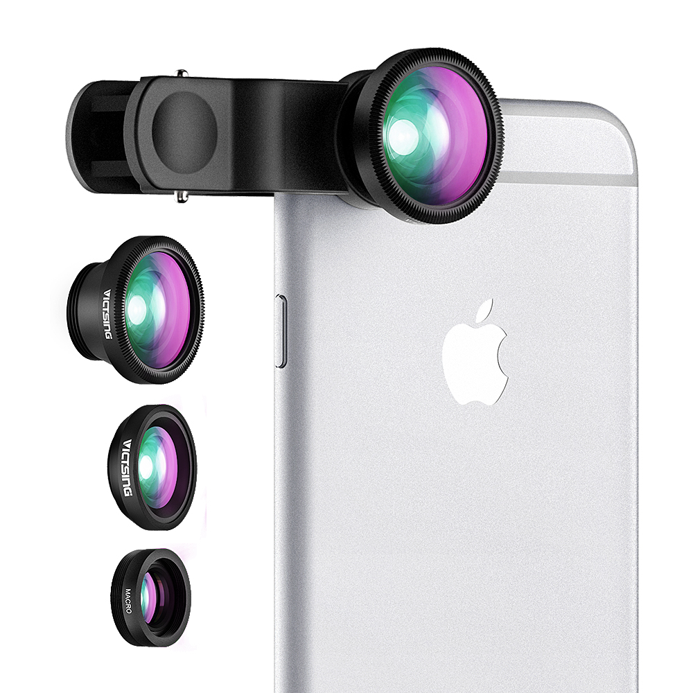 Clip-On 180 Degree Supreme Fisheye + 0.67X Wide Angle+ Micro Lens 3-in-1 Easy-Use Camera Lens Kits For iPhone 6 / 6 Plus, iPhone 5 5S 4S 6S