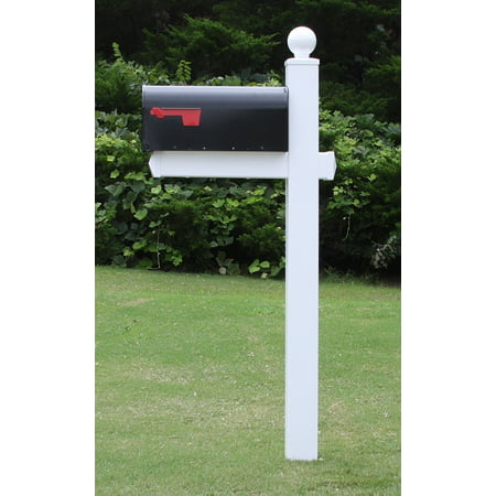 The Washington Mailbox System with White Vinyl Post Combo, Stand, and Black Mailbox Included