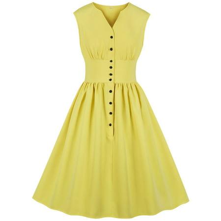 Plus Size Women's Mini Dresses Split V Neck Pleated Floral Print Button 1940s Day 1950s Vintage High Waist Sleeveless