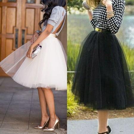 Womens Multi-Layers Tulle Skirts Long Midi Dress Princess Ballet Tutu Dance Prom Black Size M Long Black Floral Skirt