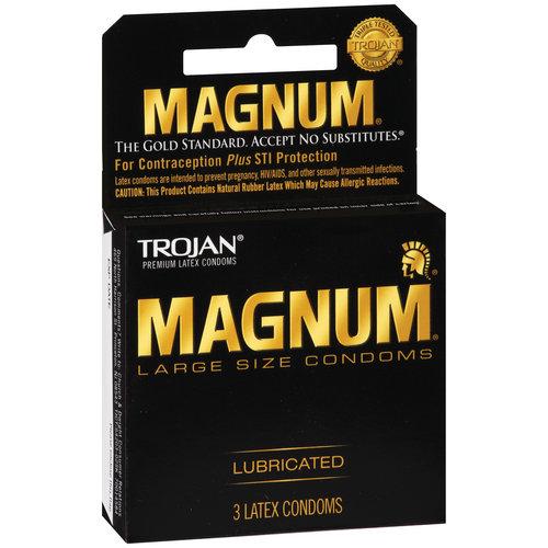 Trojan Magnum Large Size Lubricated Condoms, 3ct